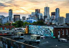 Layers of a City (Brady Baker) Tags: toronto canada ontario kensington market graffiti rooftop financial downtown skyline sunrise dawn golden perspective juxtaposition levels layers urban cityscape