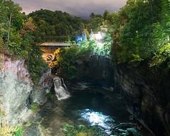 Triphammer Falls at night (rexp2) Tags: canyon bridge sonya7s nikkor35mmf14 night waterfall corneluniversity gorge