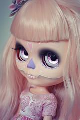 Spooky girl  (lolidolicustoms) Tags: doll blythe ooak custom commission calavera skull dead lolidoli pink lilac eyechips takara