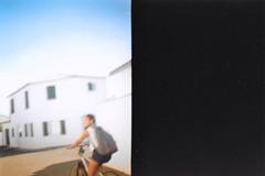 Gabby, Diana Mini (BeefySquarms) Tags: dianamini 35mm lomography dianacamera blurry bikeriding cycling larochelle ilderey archietecture whitearchietecture film photography filmphotography halfframeshots