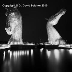 Kelpies and Reflections at Night (Dave Butcher Photography) Tags: blackandwhite sculpture reflection night scotland photograph fineartphotography falkirk kelpies davidbutcher davebutcher