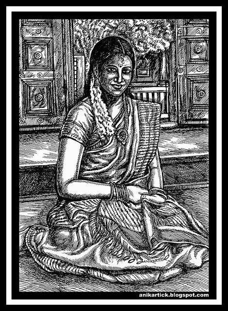 TAMIL ART,TAMIL DRAWINGS,TAMIL TRADITIONAL ART,TAMIL VILLAGE ART,TAMIL HERITAGE ART,TAMIL DRAWINGS,TAMIL TRADITIONAL DRAWING,TAMIL GIRLS,TAMIL LADIES,TAMIL WOMEN,DRAWINGS,ILLUSTRATIONS,SKETCHES - Artist Anikartick,Chennai,Tamil Nadu,India