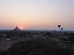 Hot Air Balloons at Sunrise - Bagan, Myanmar (mikestuartwood) Tags: morning sun hot sunrise balloons asian temple asia desert burma air temples myanmar burmese bagan