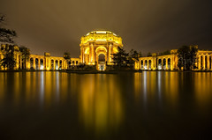 Palace of Fine Arts (Steve Corey) Tags: sanfrancisco ca light architecture reflections lowlight palaceoffinearts goldenlight reflectinglight artindesign nocturnography