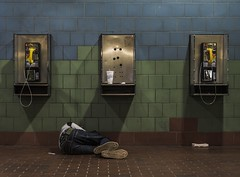 The Trip's Toll (Joseph Kapferer) Tags: trip greyhound color bus station composition digital private sleep property payphone tiles tired allowed