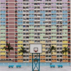 Pastel Estate (adrianchandler.com) Tags: windows building public colors architecture hongkong rainbow colorful apartments colours estate pastel flats palmtrees highrise housing colourful multi basketballcourt choihung