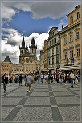 Our lady of Tyn church ,Prague (T.S.Photo (Teodor Sirbu)) Tags: prague prag praha architecture square piazza old town stare mesto staromestska namesty church our lady tyn people day photography historical medieval tamron 1735 17mm cloudy overcast clouds buildings baroque