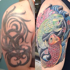 Cover up tattoo by Wes Fortier (owner/artist) at Burning Hearts Tattoo Co. Waterbury, CT. Instagram: @wesdtc