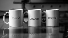 Special  11/52 (Go-tea ) Tags: 52project 52 11 canon eos 100d 50mm bw bnw black white blackwhite blackandwhithe indoor inside coffee cups mugs family papa mama david name reflection table 1 2 3 special china qingdao huangdao asia asian breakfast drops durty clean home glass mirror