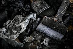 Redefined Colours (thewhitewolf72) Tags: schwarz grau pinsel papier malen atelier kunst farben dunkel benutzt bild pause zerknllt