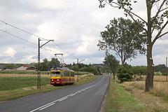 Echt interlokaal (Maurits van den Toorn) Tags: tram tramway streetcar villamos elctrico interurban strassenbahn tranvia mpk lodz lutomiersk polen poland bielefeld duewag landscape road