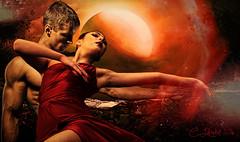 Lady in Red (clabudak) Tags: lady red dancers night moon man woman reddress platinumheartaward