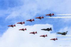 Arrow Salute (AircraftPhotoz) Tags: aircraft planes aeroplanes jets air shows military militaryplanes riat royalinternationalairtattoo airshows redarrows f35lightning f35 typhoon eurofighter