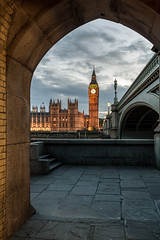 Westminster (davidcl0nel) Tags: 2016 canon london canon5dmarkiii night sunset blue hour ef35f2isusm 35mm westminster bigben clock westminsterparliament westminsterbridge arc frame framing architecture arch bluehour