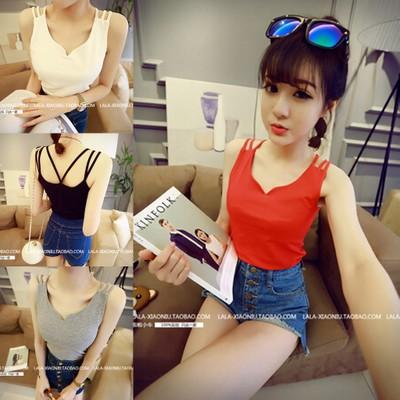 2016 Sommer neue koreanische Version des solide v-Ausschnitt Neckholder Hemdchen schicken nach drei Schulter base-Coat Frauen