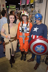 Rey, Luke Skywalker, and Captain America cosplay at Boston Comic Con 2016 (FranMoff) Tags: starwars costume costumer bostoncomiccon flickr cosplay lukeskywalker captainamerica rebelpilot cosplayer rey 2016 bostoncomiccon2016