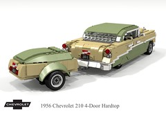 1956 Chevrolet 210 4-Door Hardtop & trailer (lego911) Tags: chevrolet chevy chev 1956 210 1960s 4door hard top hardtop classic 1950s trifive auto car moc model miniland lego lego911 ldd render cad povray lugnuts challenge 107 saturdaymorningshownshine saturday morning show n shine usa america v8 chrome trailer luggage