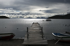 Isla del Sol, Lake Titicaca (sophs123.) Tags: isla del sol island lake titicaca bolivia copacabana peru south america latinoamerica travel summer backpack backpacking landscape symmetry pontoon clouds canon canon400d nature wildlife