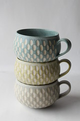 incised mugs (anewdawnanewday) Tags: cup ceramics incised mug pottery tablewares fuctionalwares