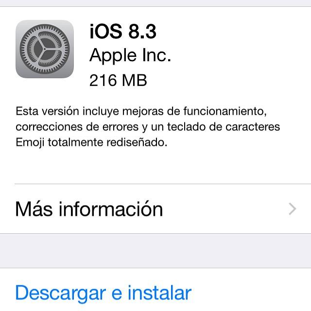 iOS 8,3 ya disponible para descarga, recuerda hacer una copia de seguridad con iTunes antes de actualizar.