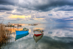 Boats of Karina (Nejdet Duzen) Tags: trip travel sunset reflection nature turkey boat fishing cloudy trkiye sandal karina dalyan ege gnbatm yansma turkei seyahat doa kayk ske balklk eagean bulutlu