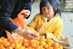 Orange (Singer ) Tags: china light shadow portrait orange cute eye tangerine fruit composition canon kid dof child market candid snapshot singer lovely   f5 cultural   mandarinorange  oneshot     timing           iso500   streetsnap      1160sec  176mm    chineseorange   canon6d    canonef70300mmf456lisusm  singer186