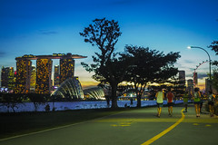 A place for everyone (elenaleong) Tags: singapore sundown silhouettes skylines photographers bluehour joggers mbs tgrhusunset elenaleong
