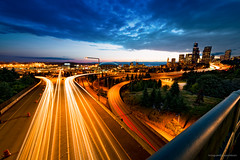Seattle Evening (smpoutdoors) Tags: seattle lighting street city longexposure light streets clouds outdoors lights timelapse highway exposure pacificnorthwest pnw lighttrail timeblend