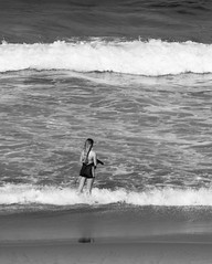Winter dip in the sea! (Merrillie) Tags: nikon winter nature water d5500 nswcentralcoast newsouthwales sea nsw monochrome beach blackandwhite centralcoastnsw shellybeach girl photography landscape outdoors waterscape waves centralcoast seascape australia