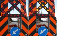 Unmissable road signs (eltpics) Tags: eltpics signs symbols roadsigns roadworks arrows lights contrasts off