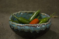 Small bowl with balck bottom with chiles (karenchristine552) Tags: ceramics clay gardening pennsylvania peppers philadelphia pottery universitycity westphiladelphia