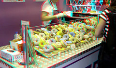 DONUTS Markthal Rotterdam 3D (wim hoppenbrouwers) Tags: donuts markthal rotterdam 3d anaglyph stereo redcyan food gers