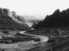A ride through the gap (jimsawthat) Tags: blackandwhite rural utah erosion highdesert geology sanrafaelswell