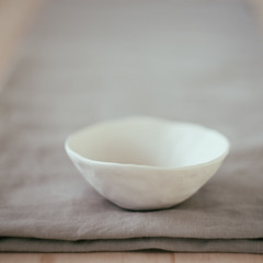 little white bowl (sue.h) Tags: white quiet linen bowl clay artlibre