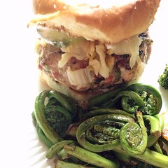 "Pork burgers topped with homemade kimchi and garlic ginger pickles should wake up our taste buds tonight. Add in a side of fiddleheads sautéed in butter and I can't wait to sit down at the farmhouse table!  What's for dinner at your house tonight?  #food • <a style=""font-size:0.8em;"" href=""http://www.flickr.com/photos/54958436@N05/17605757480/"" target=""_blank"">View on Flickr</a>"