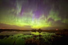 May 13 aurora 12:14am (John Andersen (JPAndersen images)) Tags: calgary night reflections stars twilight pond alberta prairie irricana rokinon14mm