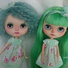 Twins Verde and Blue 💚💙 #blythecustom #instadoll #dollphotography #blythe #artdoll #ooakdoll #bluebutterflydolls #verdeblue