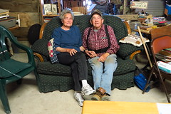 Stopping by at the Thomas Ranch for water and camping. Here are the kind hosts Anzie and John.