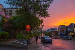 Down to Racine street (main of Saguenay) (BLEUnord) Tags: sunset coucher coucherdesoleil soleil ciel sky rue street racine rueracine route road chicoutimi saguenay