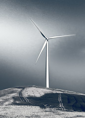 On the Way to Cordoba (silver version) (Artypixall) Tags: blackandwhite rural spain hill windturbine faa