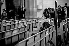 Listening to God (Mario Rasso) Tags: mariorasso nikon nikond810 sagradafamilia barcelona españa spain europe europa woman church temple blackandwhite blackwhite bw blancoynegro noiretblanc