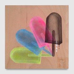 CMPRMS|72716 (theYOUNG) Tags: popsicle color blue pink yellow black white arrow shape stencil plywood painting art transparent spraypaint aerosol cmprms sperrholz farbe malerei blau gelb rosa eisamstiel form texture theyoung bielefeld schablone germany