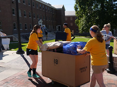 P1260683 (Widener University) Tags: movein studentmoveinday freshmanmoveinday freshman transfer boxes bins unload volunteers faculty staff