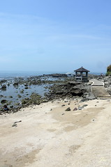 (Jia  ) Tags: sea rock sand sky pavilion bridge gf2 panasonic taiwan taipei           landscape coast