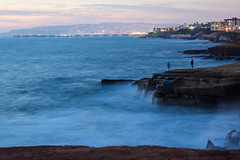 Sunset Cliffs - Looking North to Ocean Beack Pier (Photos By Clark) Tags: california canon2470 canon60d cities locale location northamerica places sandiego unitedstates where pacific longexposure rocks waves pier people mist lights