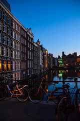 Amsterdam by night (Maria Eklind) Tags: night netherlands streetphoto street cityview spegling city holland canal kanal building streetview twilight reflection architecture water europe amsterdam kvll noordholland nederlnderna nl
