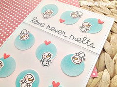 love never melts PS card detail (fridayfinally) Tags: papersmooches snowmen snow lightblue hearts love loveyoucard lovely cutebackground cute winter winterscene winterseason distressink copic