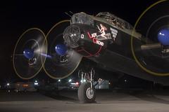 Lancaster Run up (Stephen Gardiner) Tags: hamilton ontario 2016 canadianwarplaneheritagemuseum lancster flyingfortress mitchell worldwar2 b17 b25 avro boeing northamericanaviation night plane aircraft propeller noseart pentax k3ii 1645
