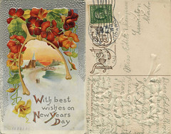 With Best Wishes on New Years Day, 1911 - Southwick, Idaho (Shook Photos) Tags: postcard postcards genericpostcard genericpostcards southwickidaho southwick idaho nezpercecounty flowers church bridge newyears newyearsday couple river stream creek