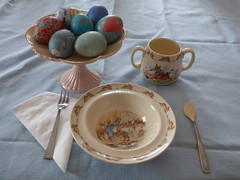 Easter Breakfast (FoxInTheWoods) Tags: bunny breakfast easter peterrabbit eggs dishes eastereggs paintedeggs dyedeggs ruby5